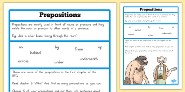 Preposition Challenge Activity to Support Teaching on The BFG - australia, bfg, preposition