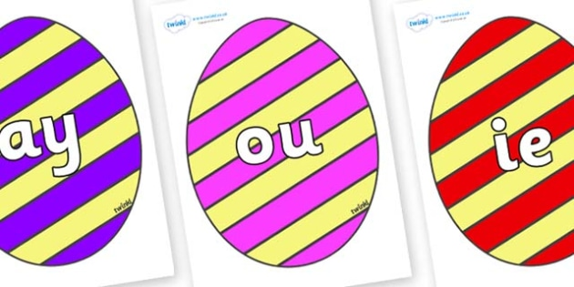 Phase 5 Phonemes on Easter Eggs (Stripes) - Phonemes, phoneme, Phase 5, Phase five, Foundation, Literacy, Letters and Sounds, DfES, display