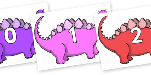 Numbers 0-100 on Stegosaurus - 0-100, foundation stage numeracy, Number recognition, Number flashcards, counting, number frieze, Display numbers, number posters