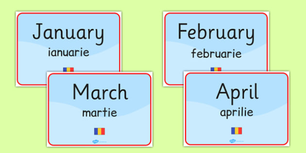 Months of the Year Signs Romanian Translation - romanian, language, display, months, year, months of the year, sign