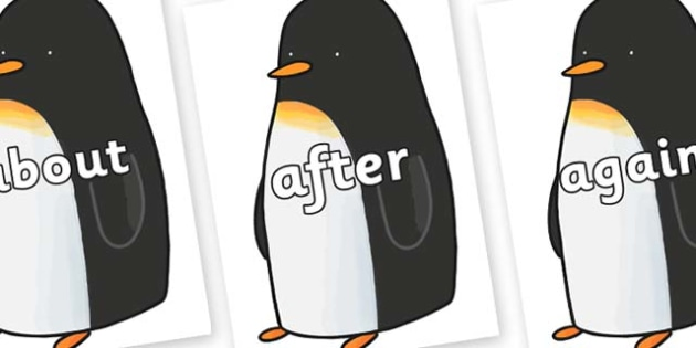 KS1 Keywords on Penguin to Support Teaching on Lost and Found - KS1, CLL, Communication language and literacy, Display, Key words, high frequency words, foundation stage literacy, DfES Letters and Sounds, Letters and Sounds, spelling