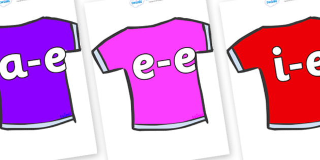 Modifying E Letters on T-Shirts - Modifying E, letters, modify, Phase 5, Phase five, alternative spellings for phonemes, DfES letters and Sounds