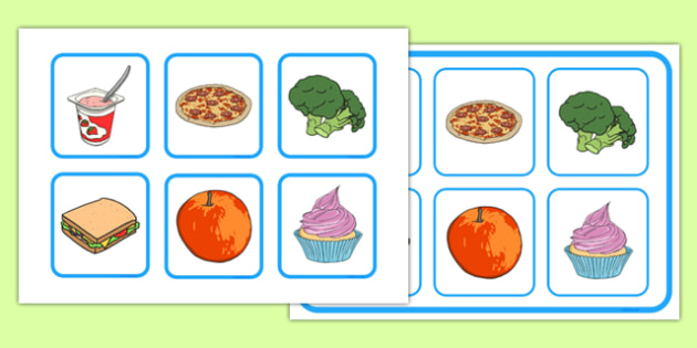 Food Matching Cards and Board - food, matching cards, board, matching