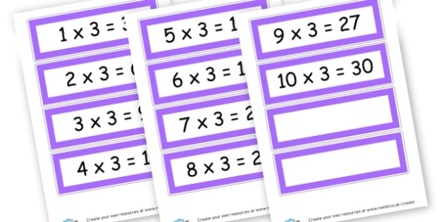 3 x Table Cards - Times Tables Primary Resources, multiply, times, number of, games, Times, Table, Tabe