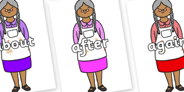 KS1 Keywords on Little Old Woman - KS1, CLL, Communication language and literacy, Display, Key words, high frequency words, foundation stage literacy, DfES Letters and Sounds, Letters and Sounds, spelling