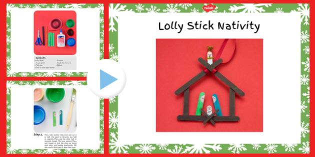 Lolly Stick Nativity Christmas Craft Instructions PowerPoint - lolly stick, nativity, christmas, craft, instructions