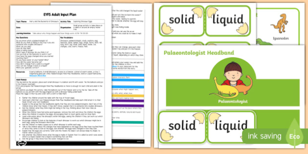 EYFS Exploring Dinosaur Eggs Adult Input Plan and Resource Pack