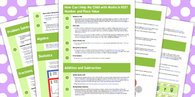 How Can I Help My Child With Maths in KS2 Information Sheets - maths, ks2, help