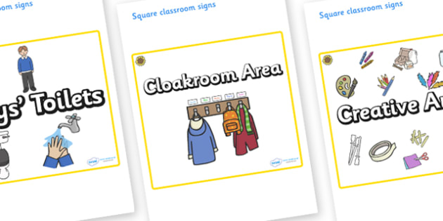Sunflower Themed Editable Square Classroom Area Signs (Plain) - Themed Classroom Area Signs, KS1, Banner, Foundation Stage Area Signs, Classroom labels, Area labels, Area Signs, Classroom Areas, Poster, Display, Areas