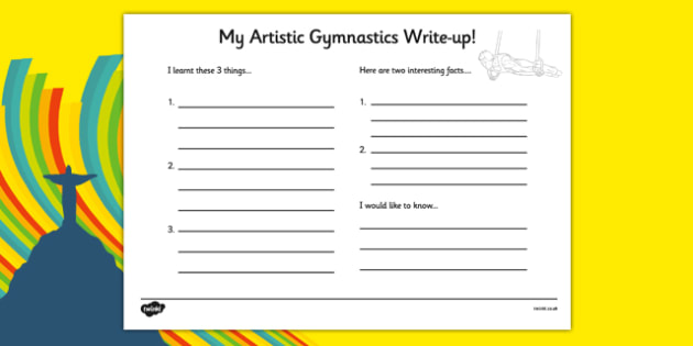 The Olympics Artistic Gymnastics Write Up Worksheet - olympics, artistic gymnastics, artistic, gymnastics, write up, worksheet