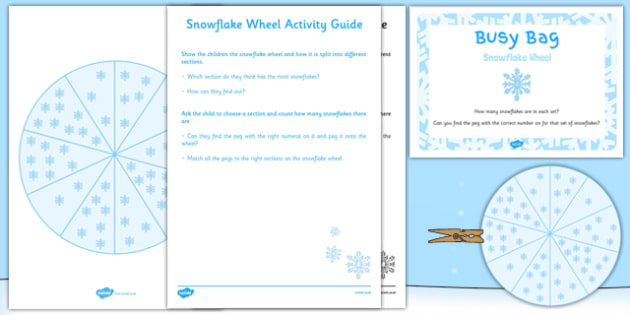 Snowflake Wheel Busy Bag Resource Pack for Parents - snowflake wheel, busy bag, pack, parents