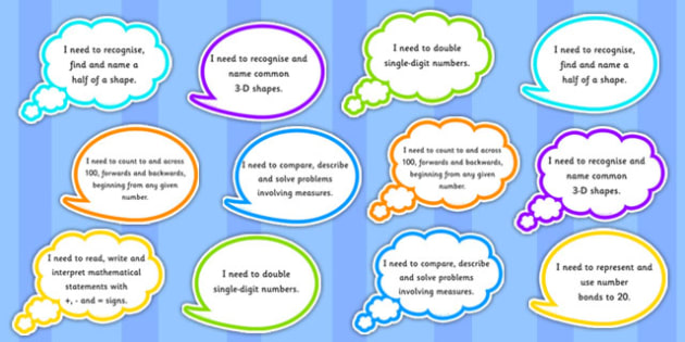 Year 1 Maths Assessment Targets on Speech Bubbles - maths, target