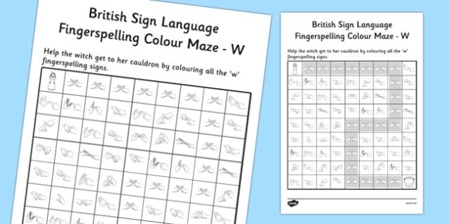 British Sign Language Left Handed Fingerspelling Colour Maze W