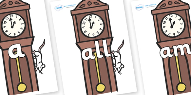 Foundation Stage 2 Keywords on Clocks - FS2, CLL, keywords, Communication language and literacy,  Display, Key words, high frequency words, foundation stage literacy, DfES Letters and Sounds, Letters and Sounds, spelling