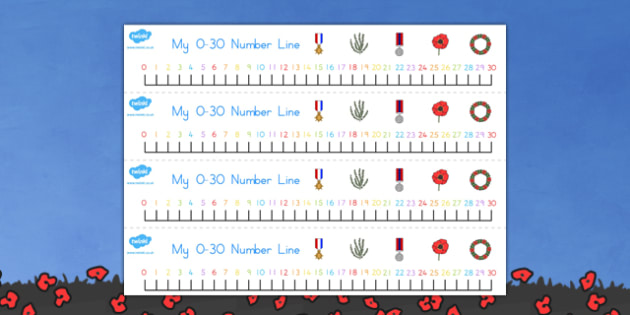 Anzac Day Number Line 1 30 - counting, count, counting aid, anzac