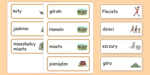 Karty ze słownictwem Flecista z Hameln po polsku
