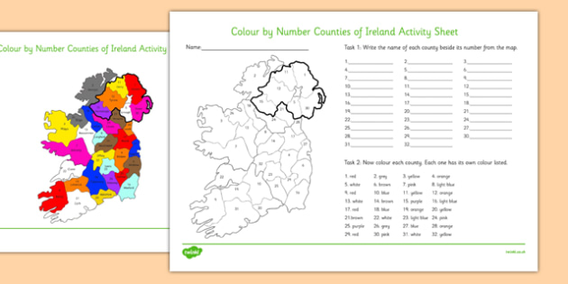 Colour by Number Counties of Ireland Worksheet - colour, number, counties, ireland, worksheet