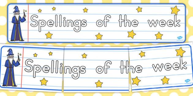 Spellings of the Week Display Banner - australia, spellings