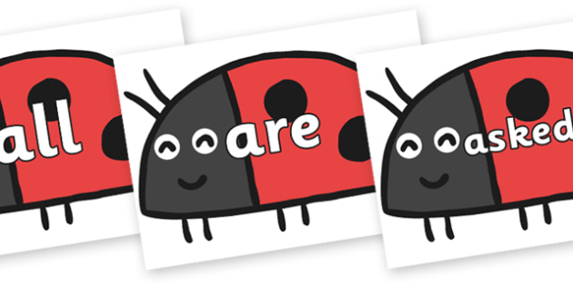 Tricky Words on Ladybird to Support Teaching on What the Ladybird Heard - Tricky words, DfES Letters and Sounds, Letters and sounds, display, words