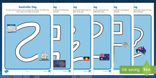 Australia Day Pencil Control Path Activity Sheets - worksheet, motor