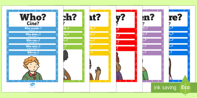 Question Words Poster Pack English/Romanian