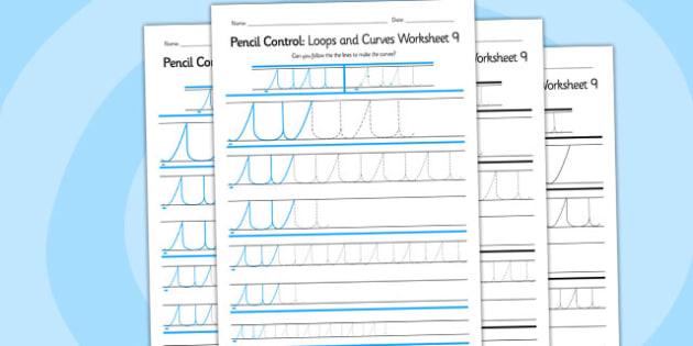 Pencil Control Loops And Curves Worksheet 9 - pencil control
