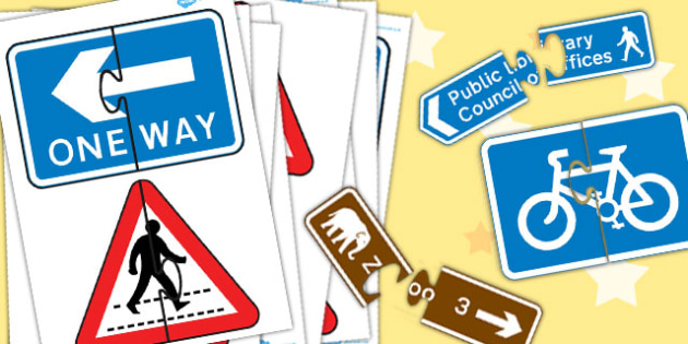 Road Sign Matching Activity - road sign, matching, activity