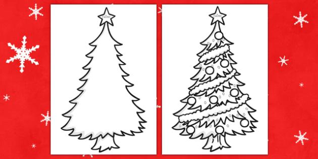 Colouring Christmas Trees -  Christmas, xmas, tree, colouring, santa, advent, nativity, father christmas, Jesus, tree, stocking, present, activity, cracker, angel, snowman, advent , bauble, fine motor skills, worksheet