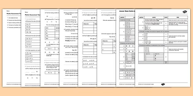 Year 6 Maths Assessment: Algebra Term 1 - maths, assessment, algebra