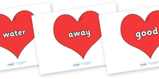 Next 200 Common Words on Hearts (Plain) - Next 200 Common Words on  - DfES Letters and Sounds, Letters and Sounds, Letters and sounds words, Common words, 200 common words
