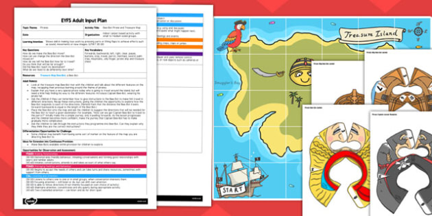 Bee Bot Pirate and Treasure Map EYFS Adult Input Plan and Resource Pack