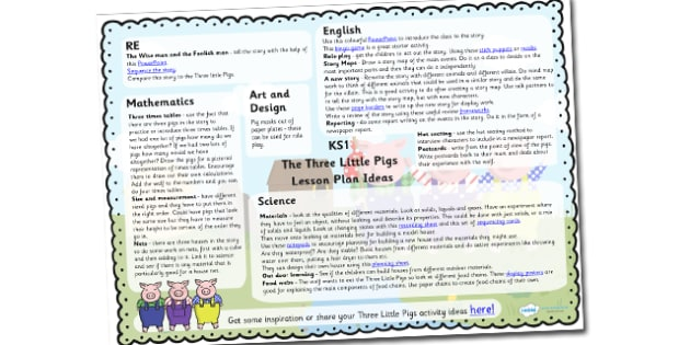 The Three Little Pigs Lesson Plan Ideas KS1 - traditional tales