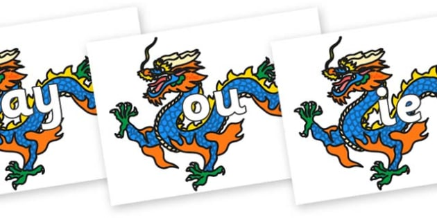 Phase 5 Phonemes on Chinese Dragons - Phonemes, phoneme, Phase 5, Phase five, Foundation, Literacy, Letters and Sounds, DfES, display