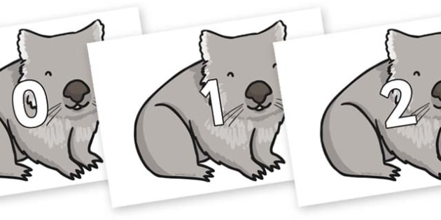 Numbers 0-100 on Wombat - 0-100, foundation stage numeracy, Number recognition, Number flashcards, counting, number frieze, Display numbers, number posters
