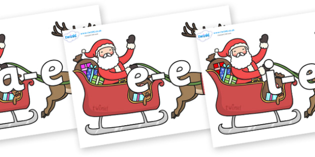 Modifying E Letters on Santa in Sleigh - Modifying E, letters, modify, Phase 5, Phase five, alternative spellings for phonemes, DfES letters and Sounds