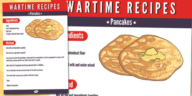 Wartime Pancakes Recipe - wartime, recipe, pancakes, food, ration