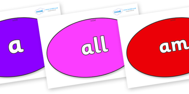 Foundation Stage 2 Keywords on Ovals - FS2, CLL, keywords, Communication language and literacy,  Display, Key words, high frequency words, foundation stage literacy, DfES Letters and Sounds, Letters and Sounds, spelling