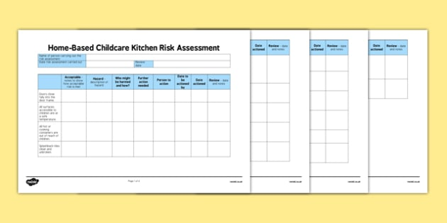 Home-Based Childcare Kitchen Risk Assessment