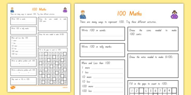 100 Days of School Maths Activity Sheet, worksheet
