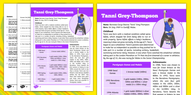 Great British Paralympians: Baroness Tanni Grey Thompson Differentiated Reading Comprehension Activity