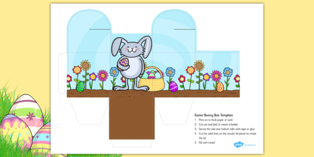 Easter Bunny Box Colouring Activity - easter bunny, easter, bunny, template