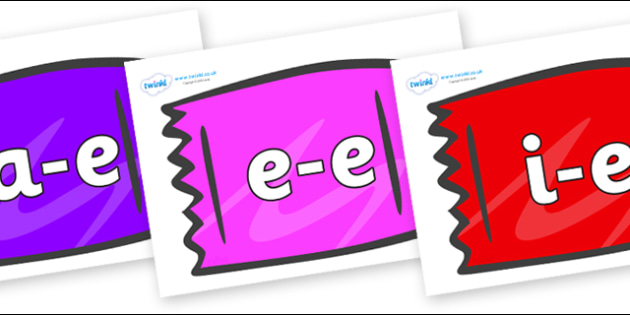 Modifying E Letters on Wrappers - Modifying E, letters, modify, Phase 5, Phase five, alternative spellings for phonemes, DfES letters and Sounds