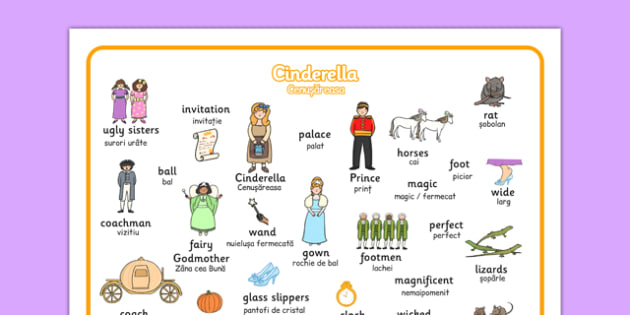 Cinderella Word Mat Romanian Translation - romanian, Cinderella, word mat, writing aid, Traditional tales, tale, fairy tale, Prince Charming, Ugly Sisters, Step Godmother, Dress, Midnight, Carriage, mice, pumpkin