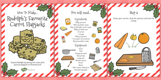 Rudolph's Favourite Carrot Flapjacks Recipe Cards - Food, Cooking