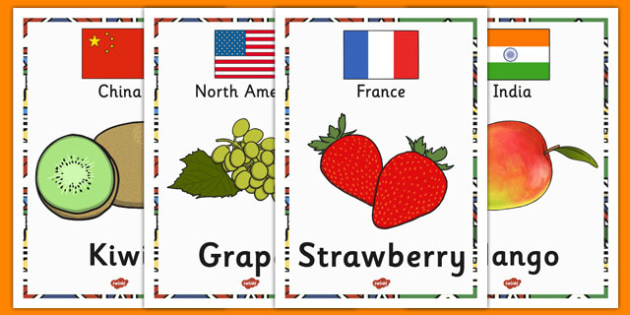 Fruit and Their Continents Display Posters - fruit, continents, display posters, display, posters