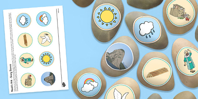 Noah's Ark Story Stones Image Cut-Outs - Story stones, stone art, painted rocks, Christianity, Bible story, animals