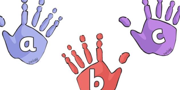 A-Z Alphabet on Handprints - Handprint, A-Z,  Alphabet frieze, Display letters, Letter posters, A-Z letters, Alphabet, A4, display, ourselves, foot, hand, my body