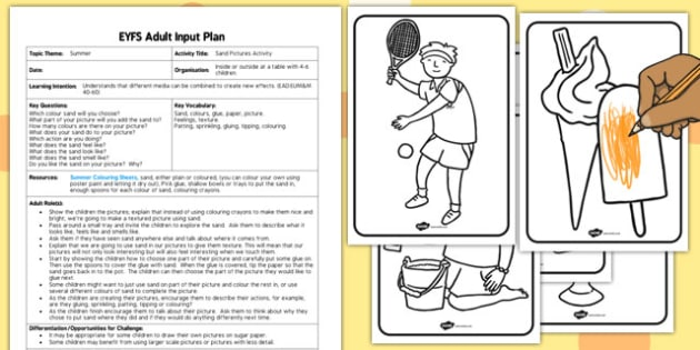 Sand Pictures EYFS Adult Input Plan And Resource Pack - early years