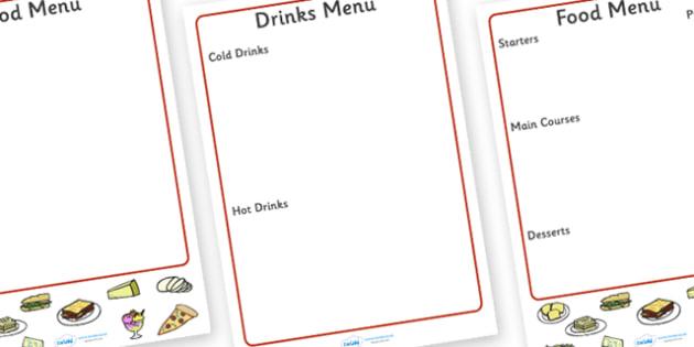 Italian Menu Writing Frame - italian menu, writing frame, writing aid, page borders, writing template, food list, fill in, Italy, cuisine, food and drink, roleplay, restaurant