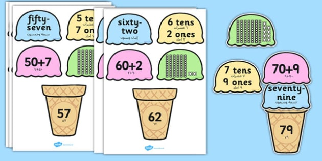 Place Value Ice Cream Cone Matching Activity Tens and Ones Arabic Translation - arabic, place value, ice cream